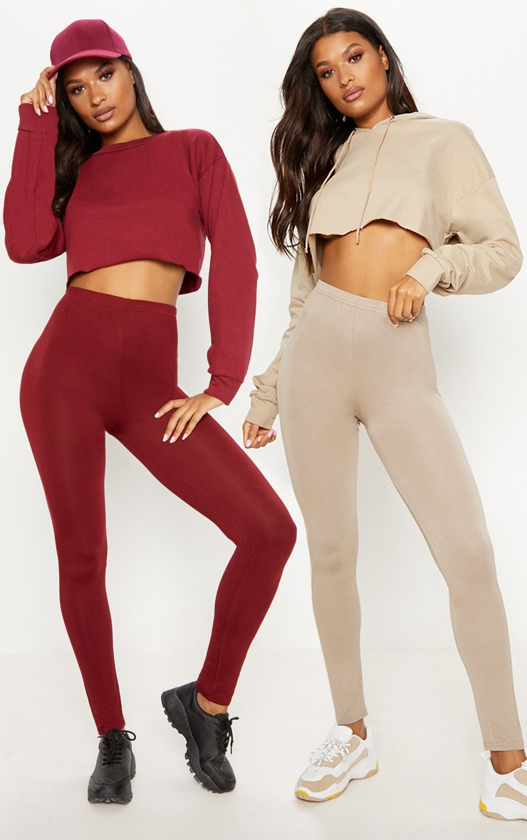 Burgundy and Taupe Basic Jersey Legging 2 Pack 1