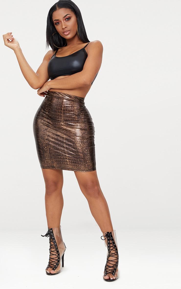 Shape Brown Snake Effect Bodycon Skirt 4
