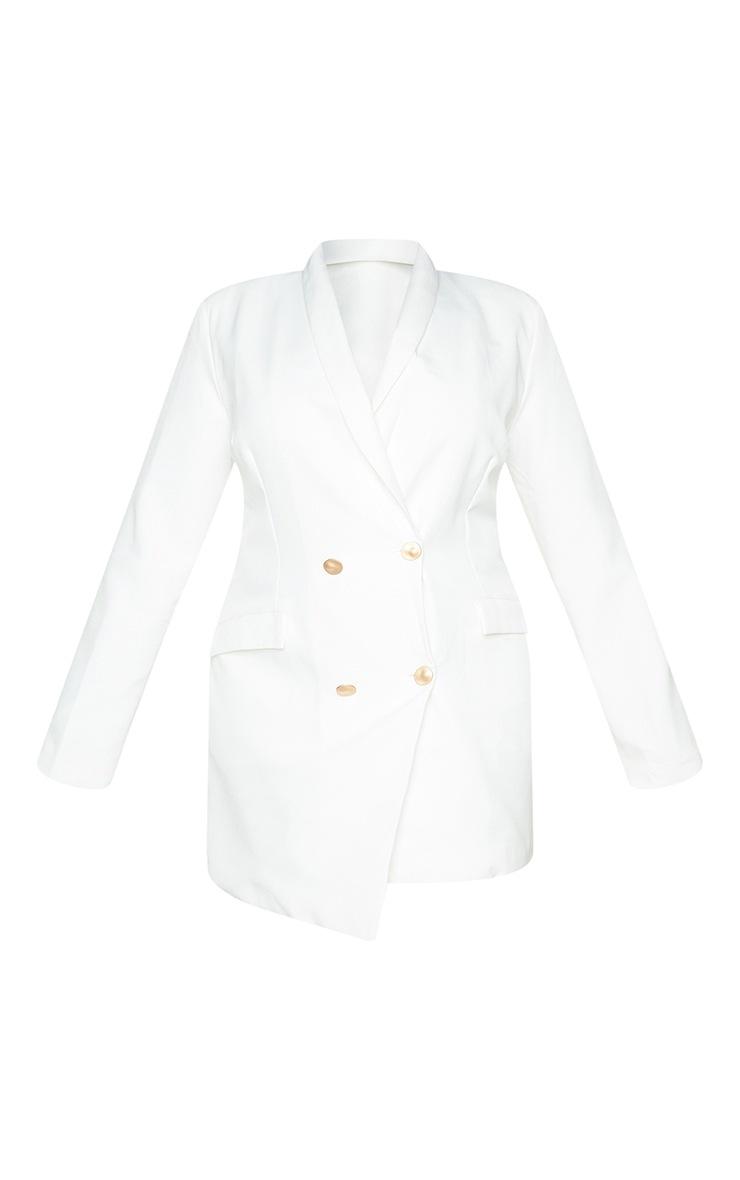 Plus White Gold Button Blazer Dress 5
