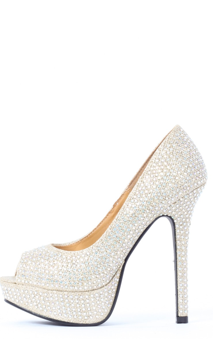 Tabitha Gold Glitter Peep Toe Court Shoes 1