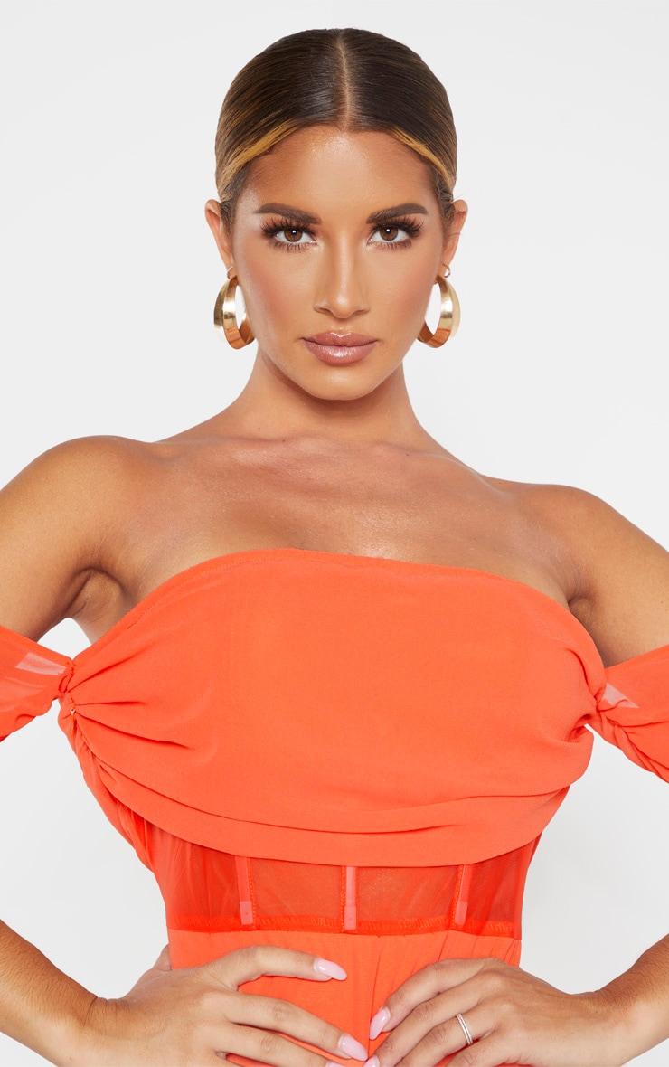 Orange Chiffon Panel Insert Drape Bodycon Dress 5