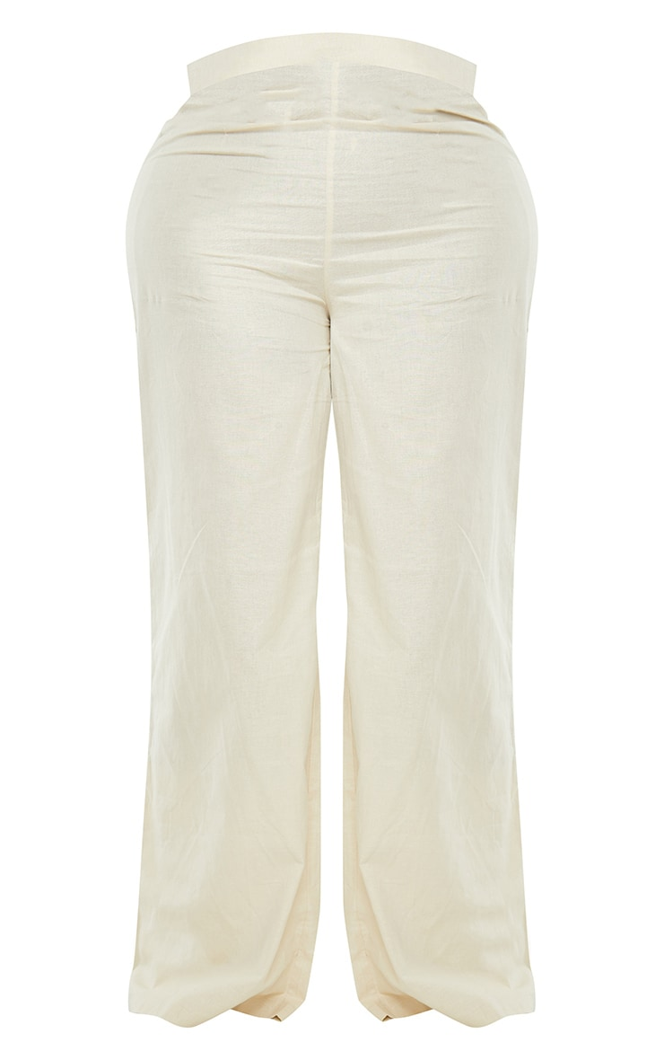 Plus Cream Woven Wide Leg Pant 5