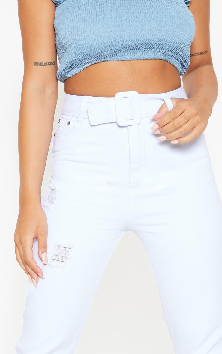 Petite - Jean droit blanc déchiré à détail ceinture 5
