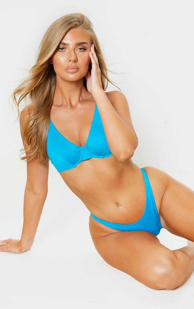 Turquoise Ribbed Underwired High Apex Bikini Top 4