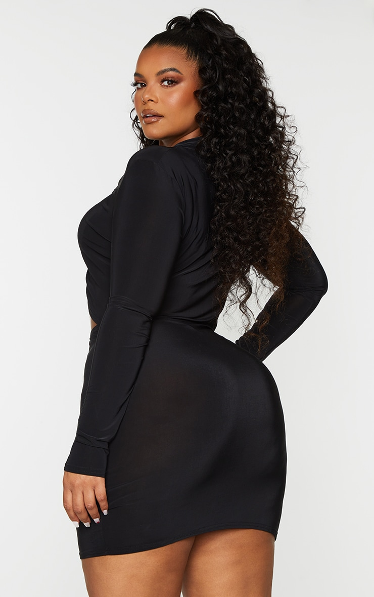 Plus Black Collared Cut Out Long Sleeve Bodycon Dress 2