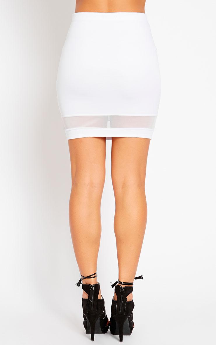 Attie White Scuba Mesh Mini Skirt 4