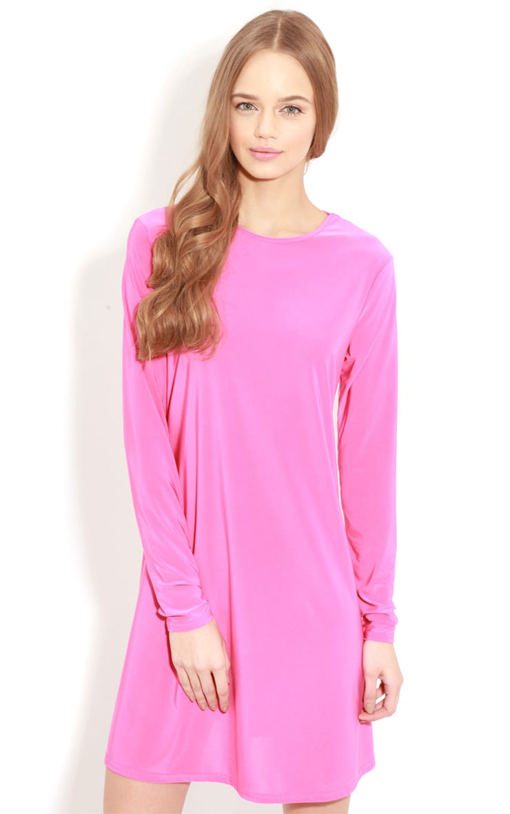 Ellen Fuchsia Long Sleeved Swing Dress  5