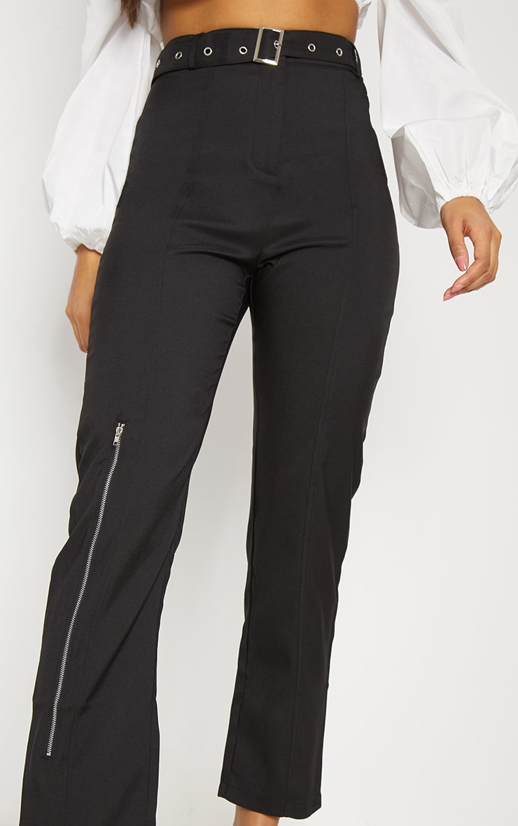 Black Belted Slim Leg Trouser 5