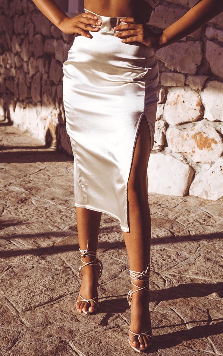 Champagne Satin Slit Front Midi Skirt  2