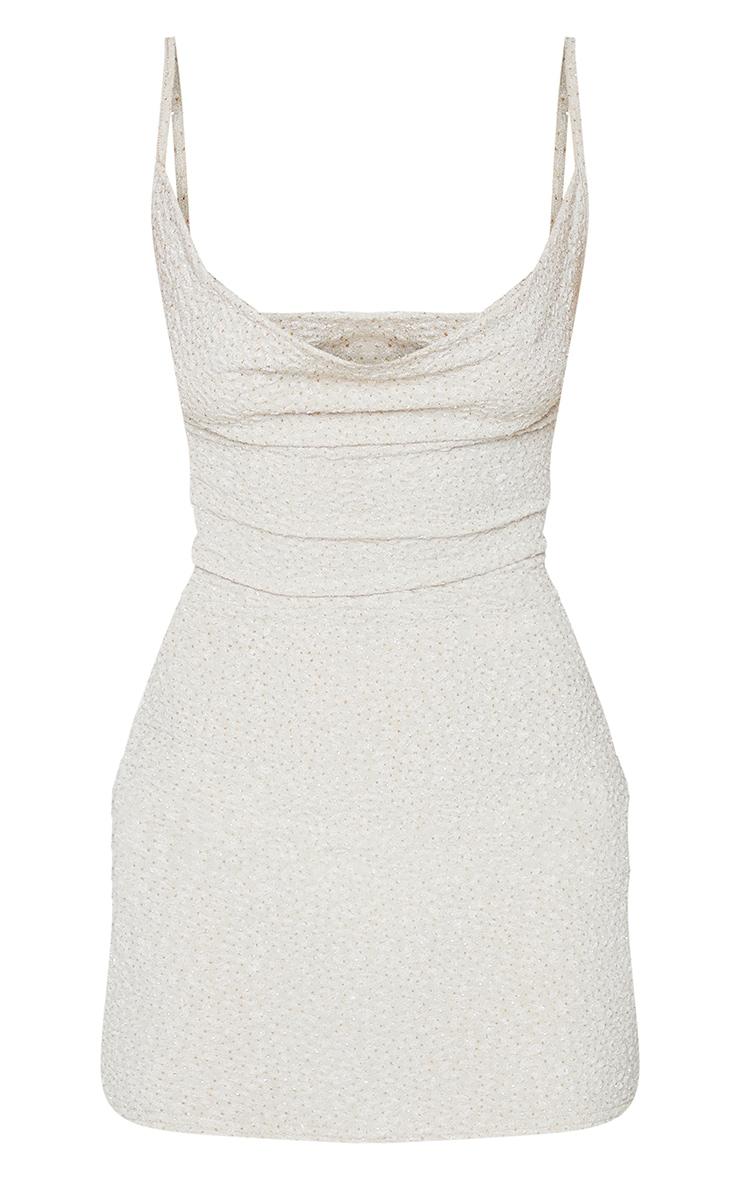 Nude Textured Glitter Strappy Cowl Neck Bodycon Dress 5