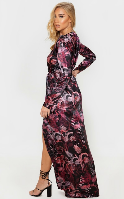 Multi Botanical Print Satin Long Sleeve Wrap Maxi Dress