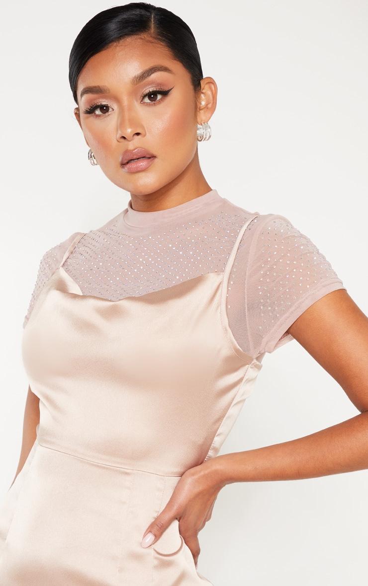 Rose Satin Cowl Mesh Diamante 2 in 1 Bodycon Dress  5