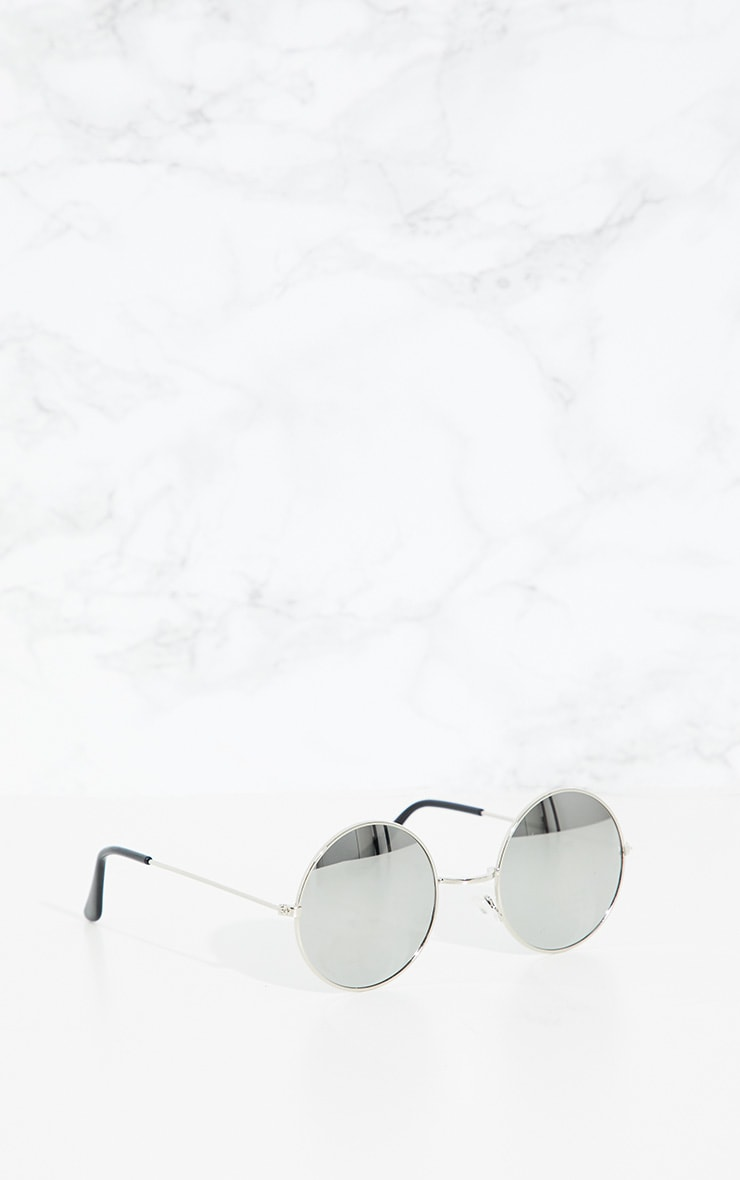 Silver Round Metal Sunglasses 2
