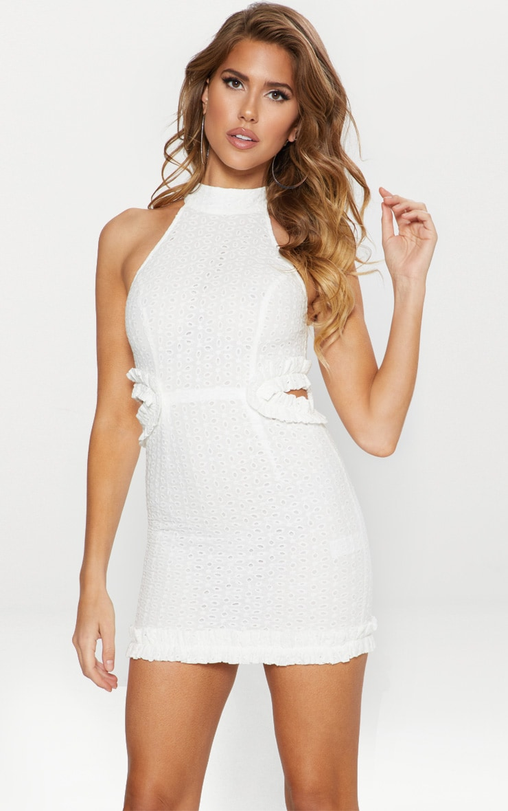 White Broderie Anglaise High Neck Cut Out Detail Bodycon Dress 1