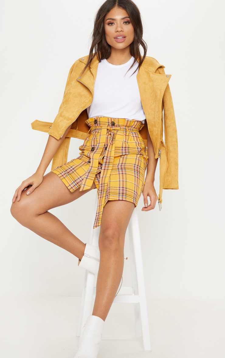 Mustard Check Tie Waist Button  Mini Skirt 5