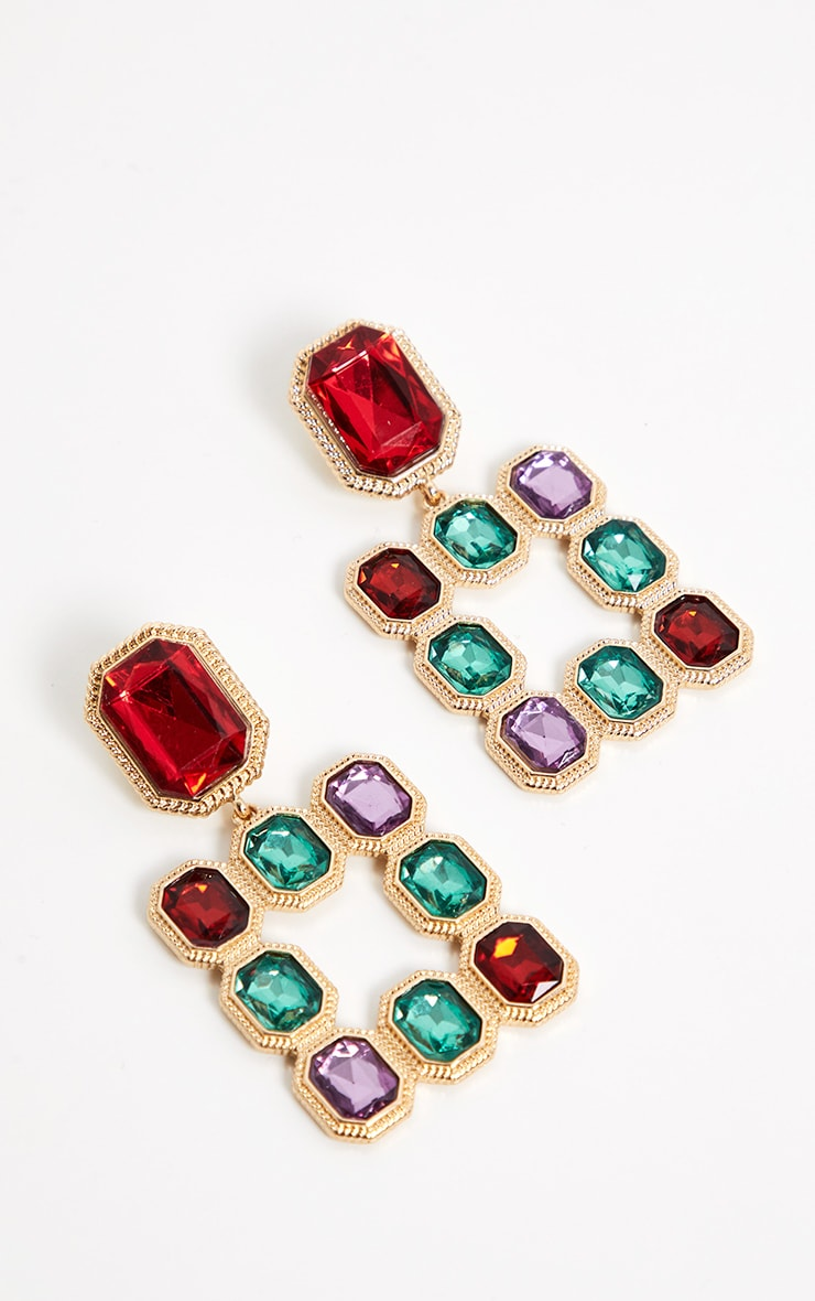 Multi Jewelled Square Drop Door Knocker Earrings 2