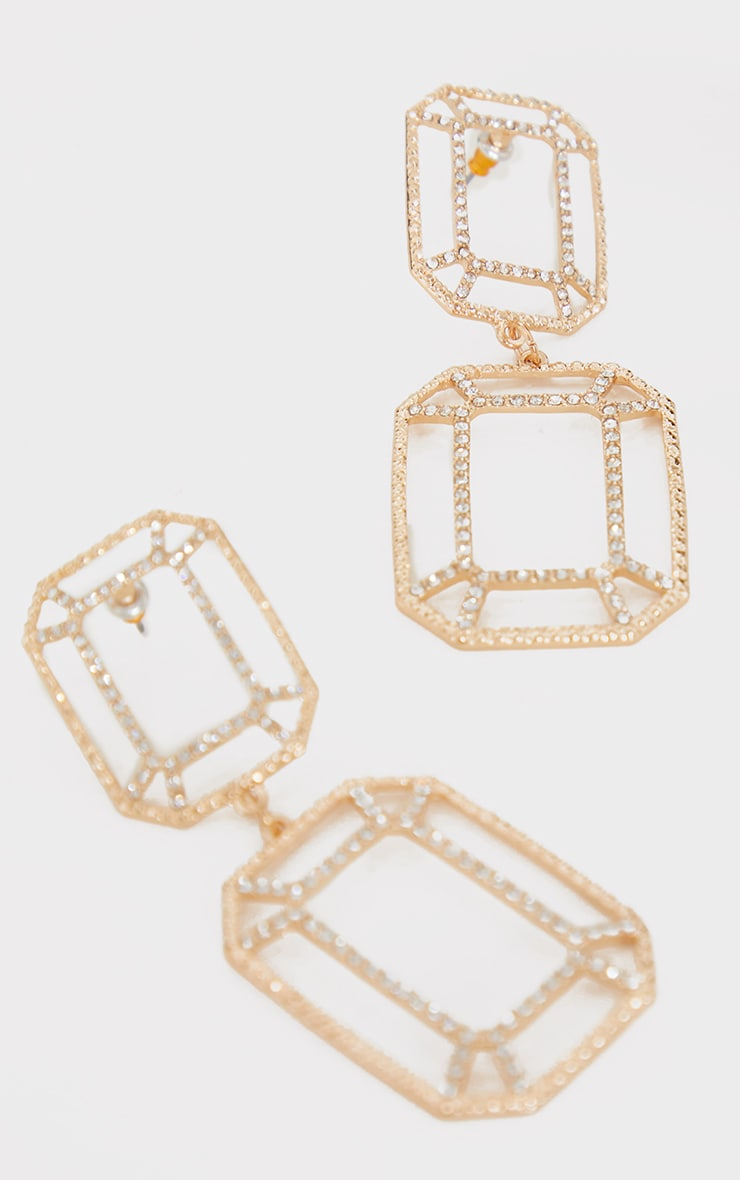 Gold Cut Out Double Square Drop Earrings 2