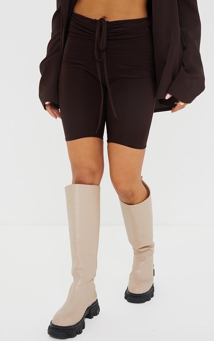 Chocolate Slinky Ruched Waist Bike Shorts 2