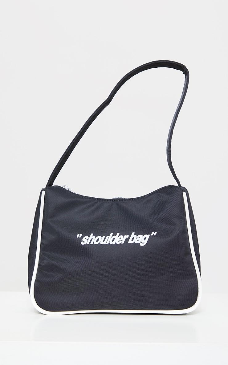 Black Slogan Shoulder Bag 2