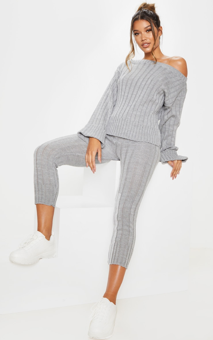 Grey Bardot Jumper And Legging Lounge Set 4
