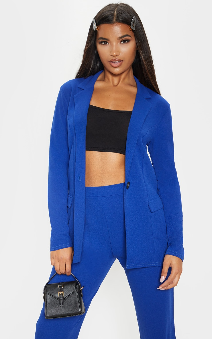 Blue Fitted Button Detail Crepe Blazer 1