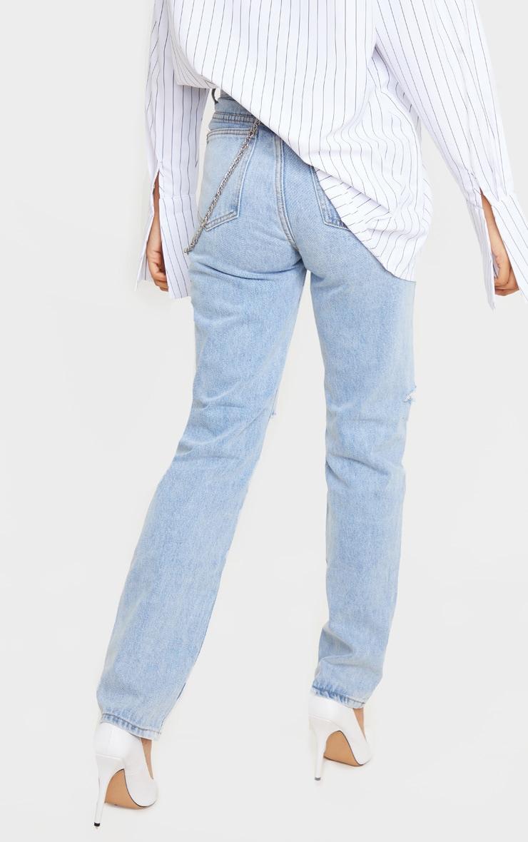 Light Blue Wash Slash Knee Long Leg Straight Leg Jean 4