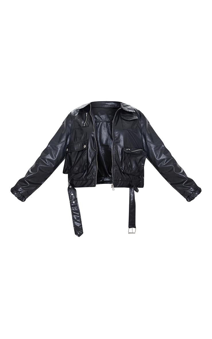 Veste en similicuir noire ceinturée à poches 5