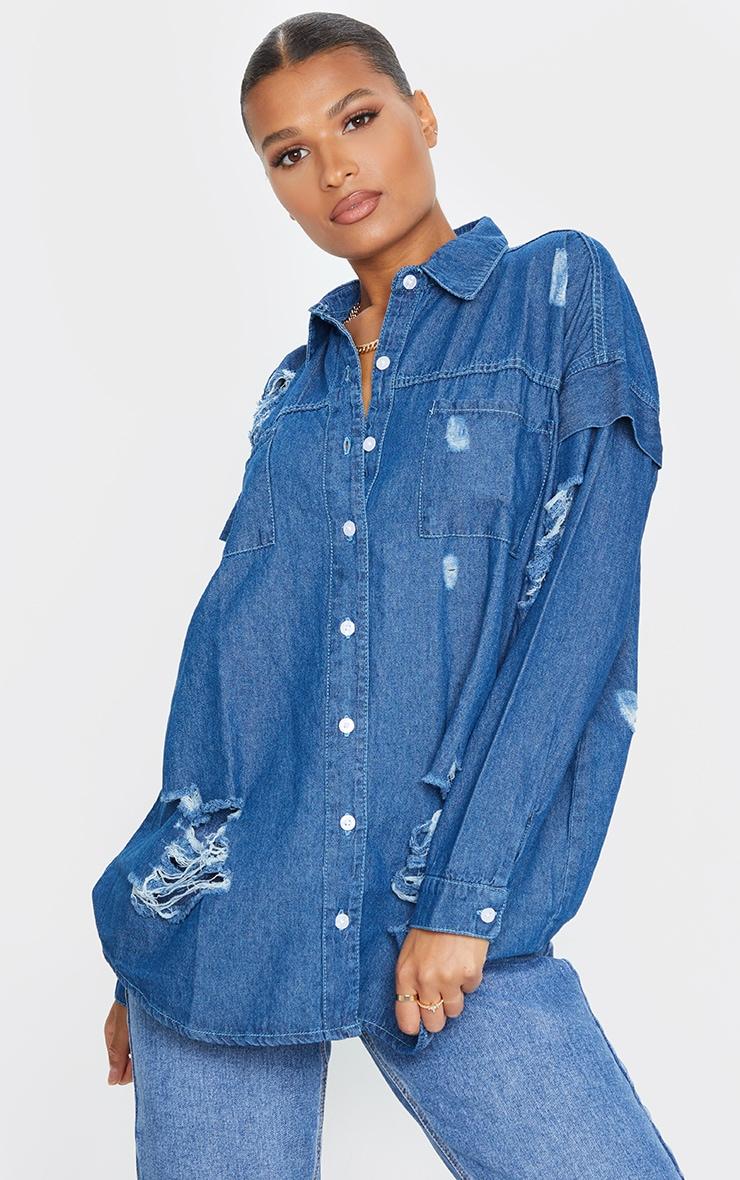 Mid Wash Oversized Distressed Denim Shirt 1