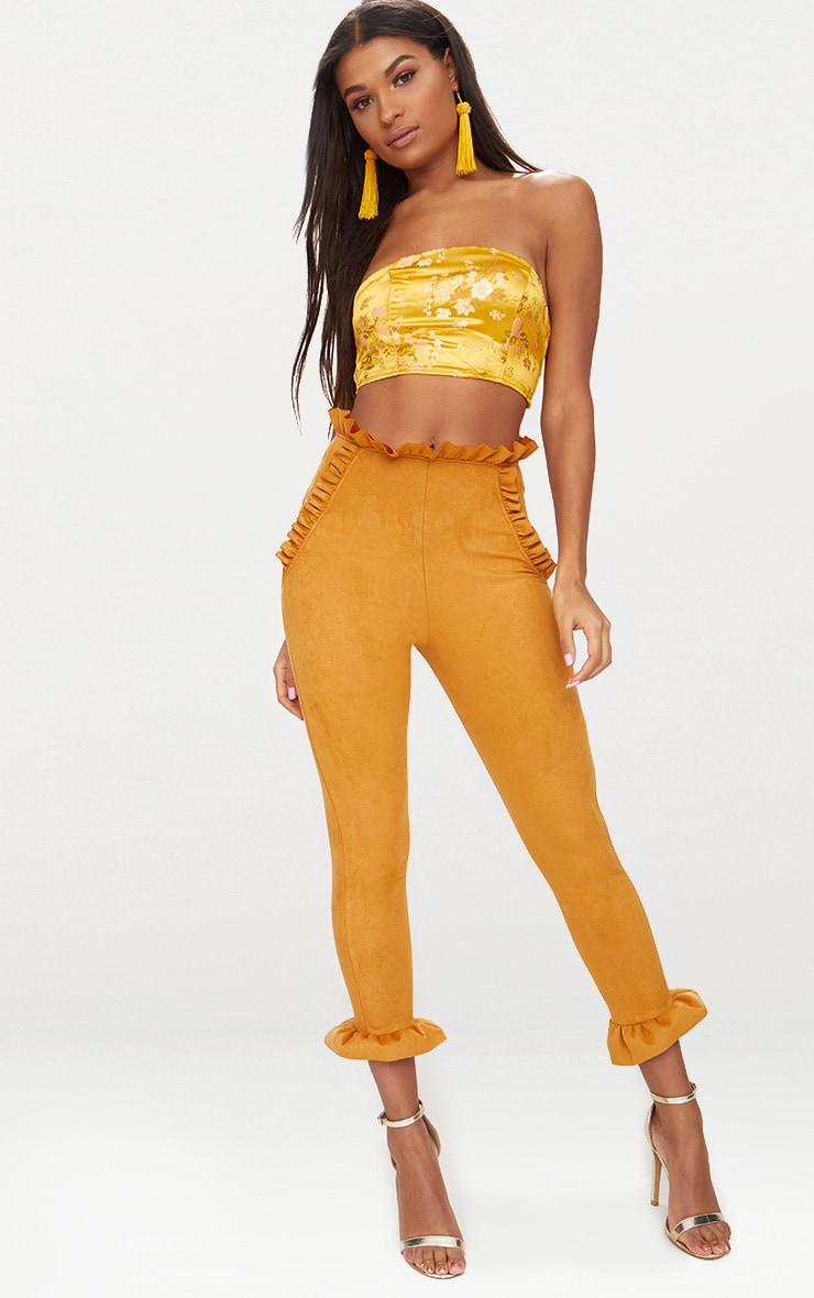Mustard Faux Suede Frill Trim Trousers 1