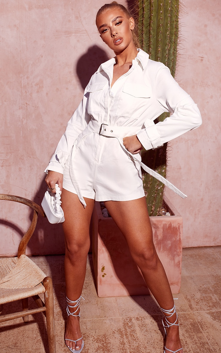 White Cargo Buckle Detail Belted Playsuit