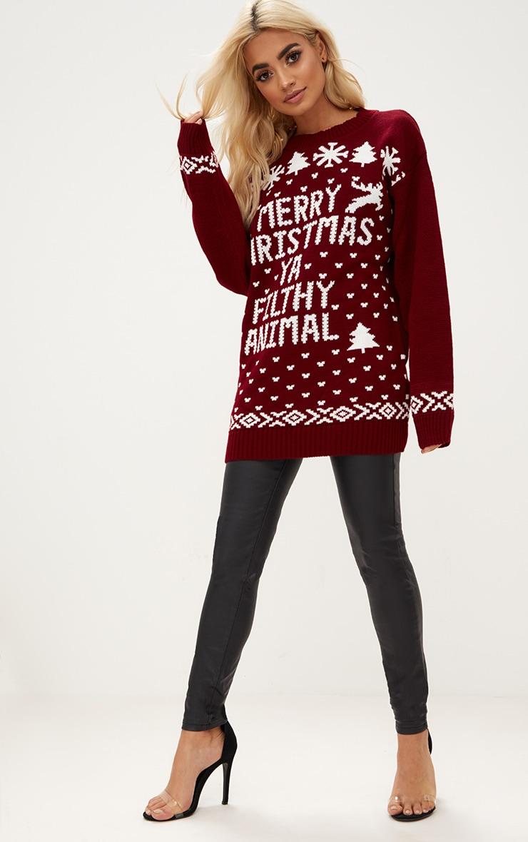 Burgundy Merry Christmas Ya Filthy Animal Christmas Jumper 3