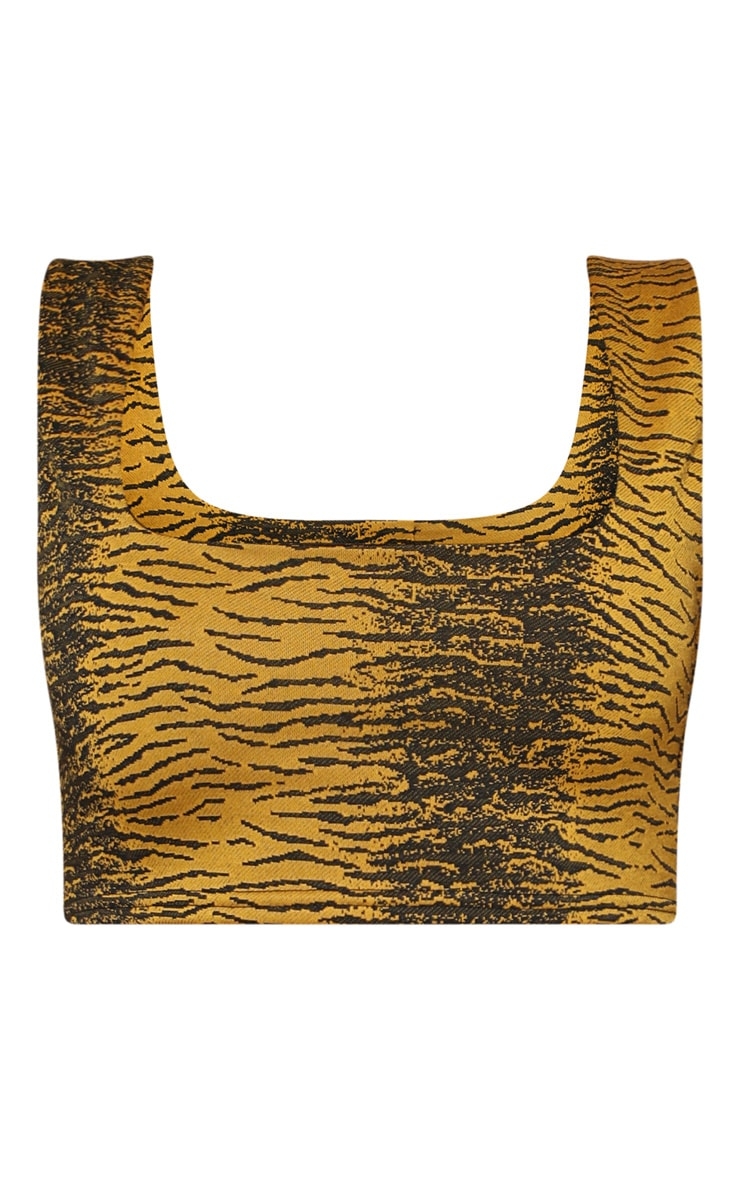 Tiger Square Neck Crop Top 4
