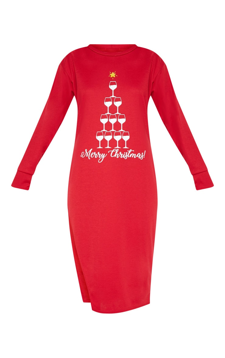 Red Merry Christmas Midi Jumper Dress 3