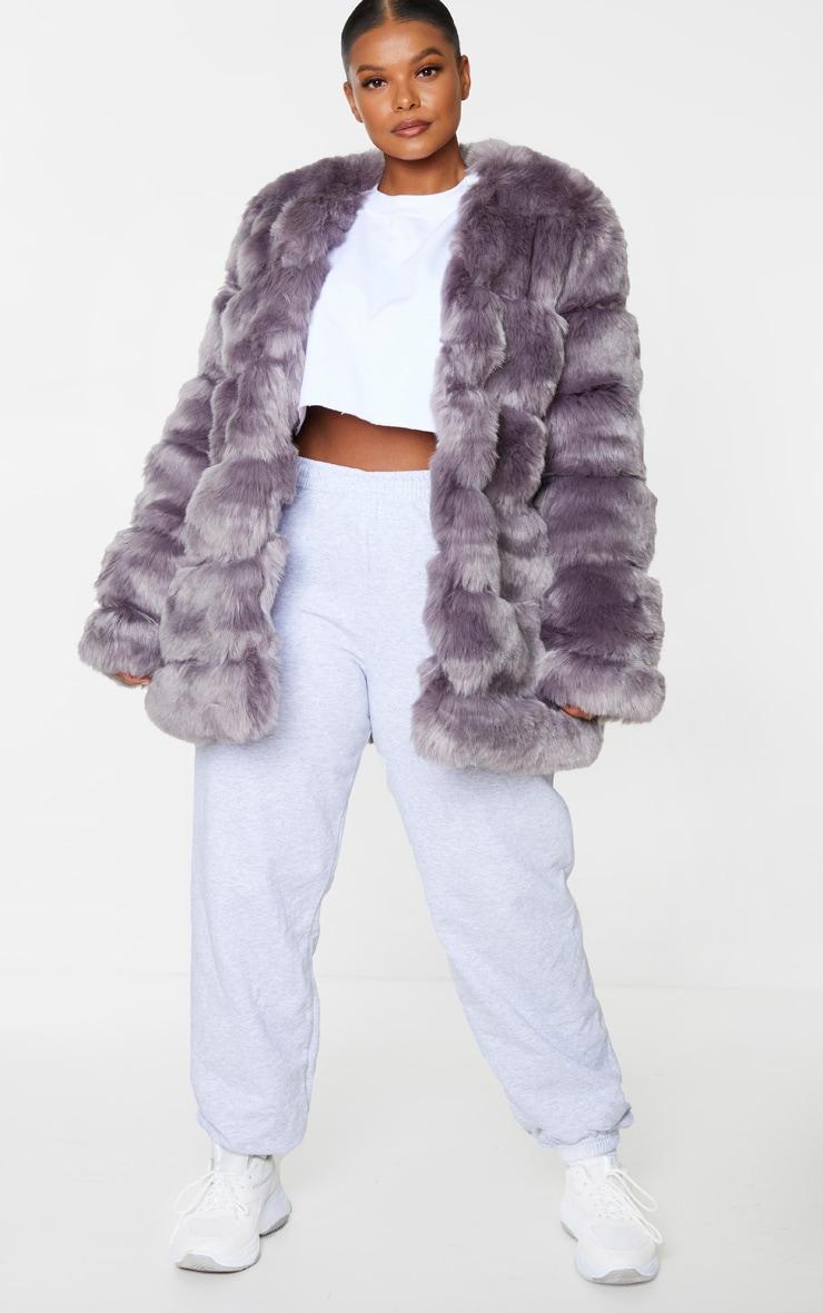 Plus Grey Faux Fur Bubble Coat 1