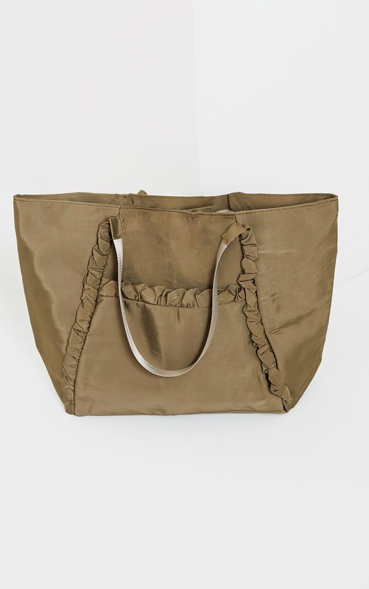 Khaki Ruffle Trim Tote Bag 2