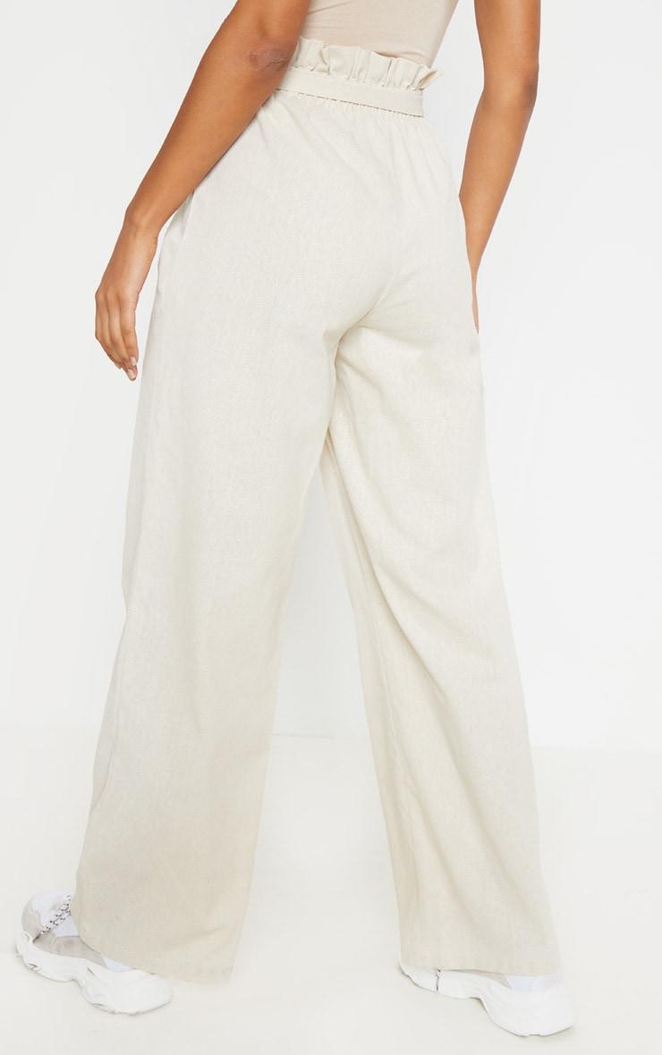 Pantalon paperbag effet lin gris pierre à taille froncée 4