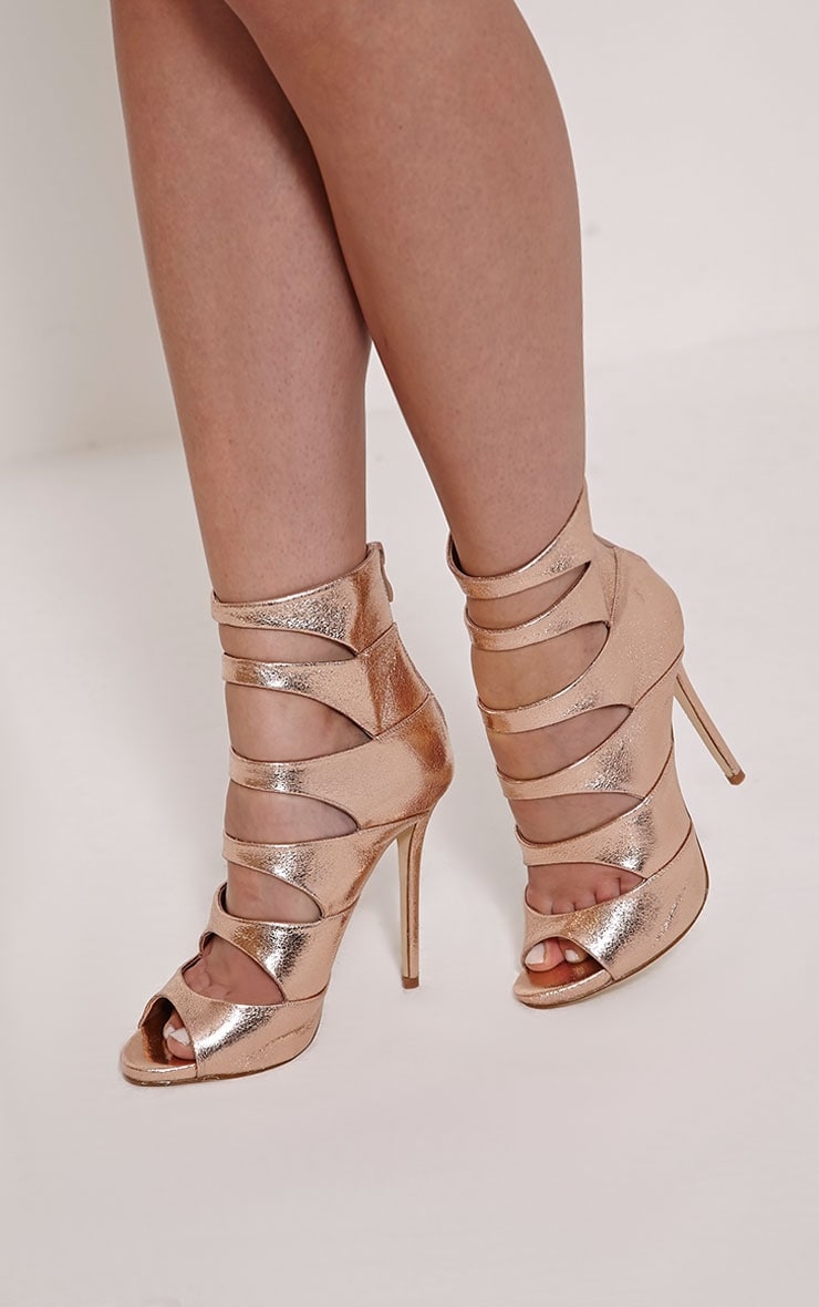 Drew Rose Gold Peep Toe Strap Detail Ankle Shoe 1