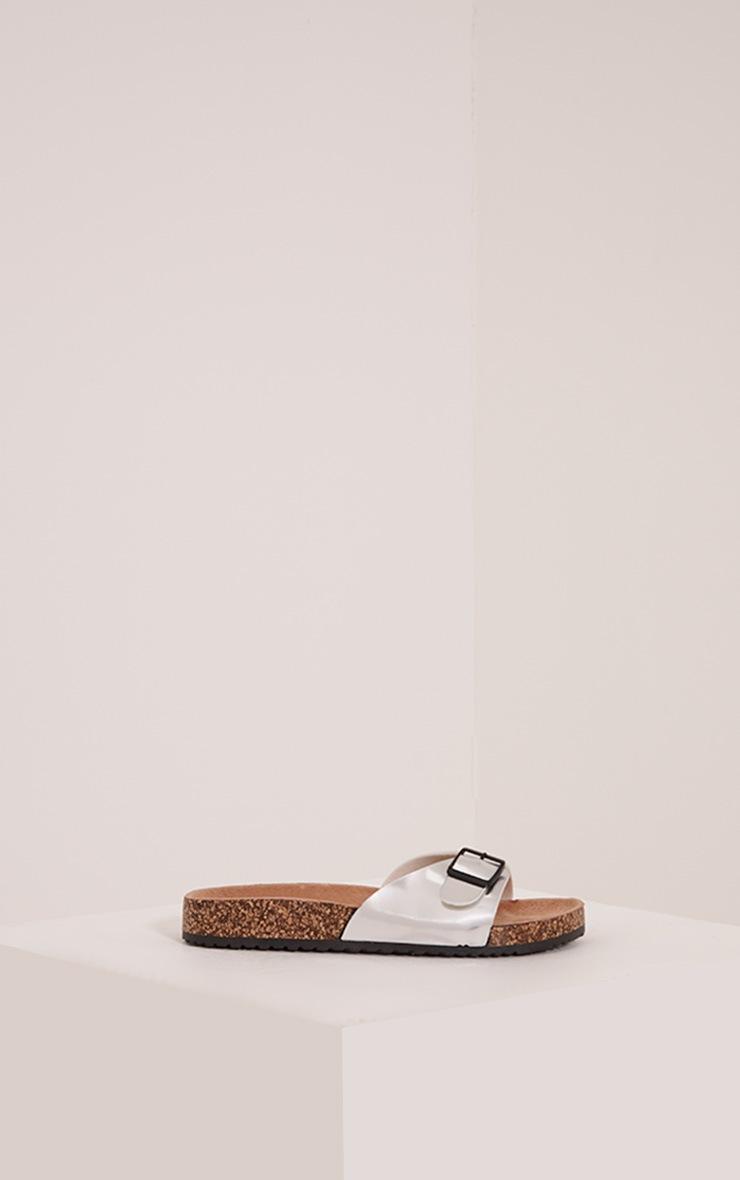 Liliy Silver Metallic Slip On Sandals 3