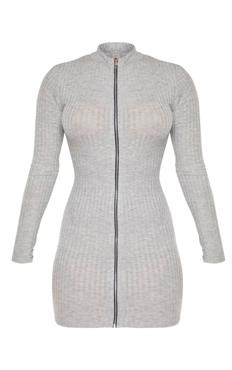 Petite Grey Marl Zip Up Long Sleeve Mini Dress 4