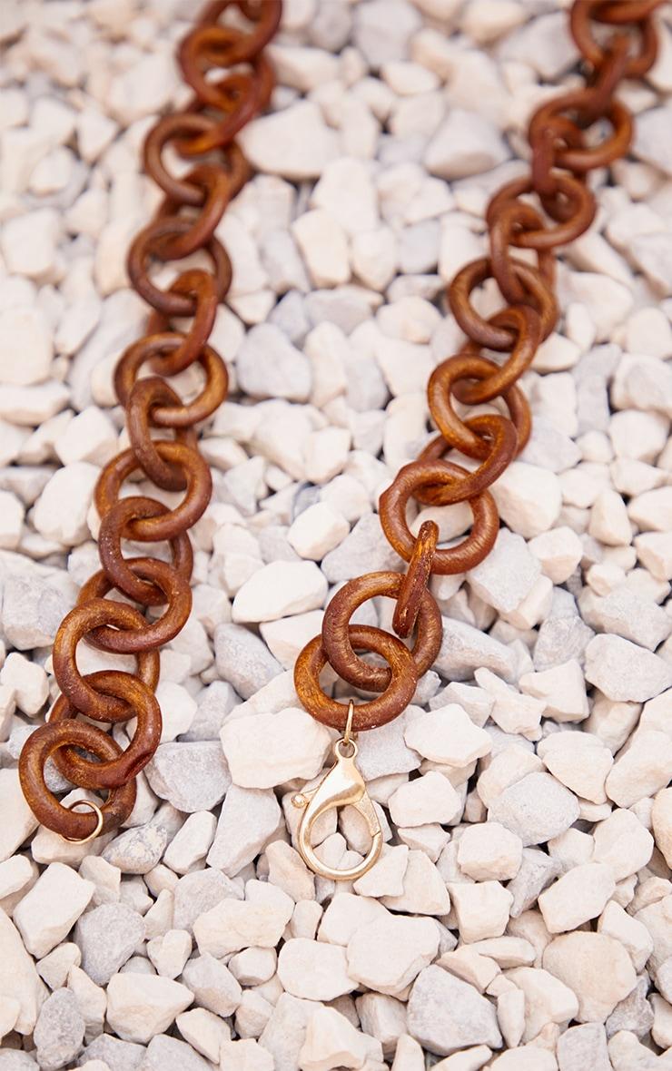 Brown Wooden Hoop Chain Belt 3
