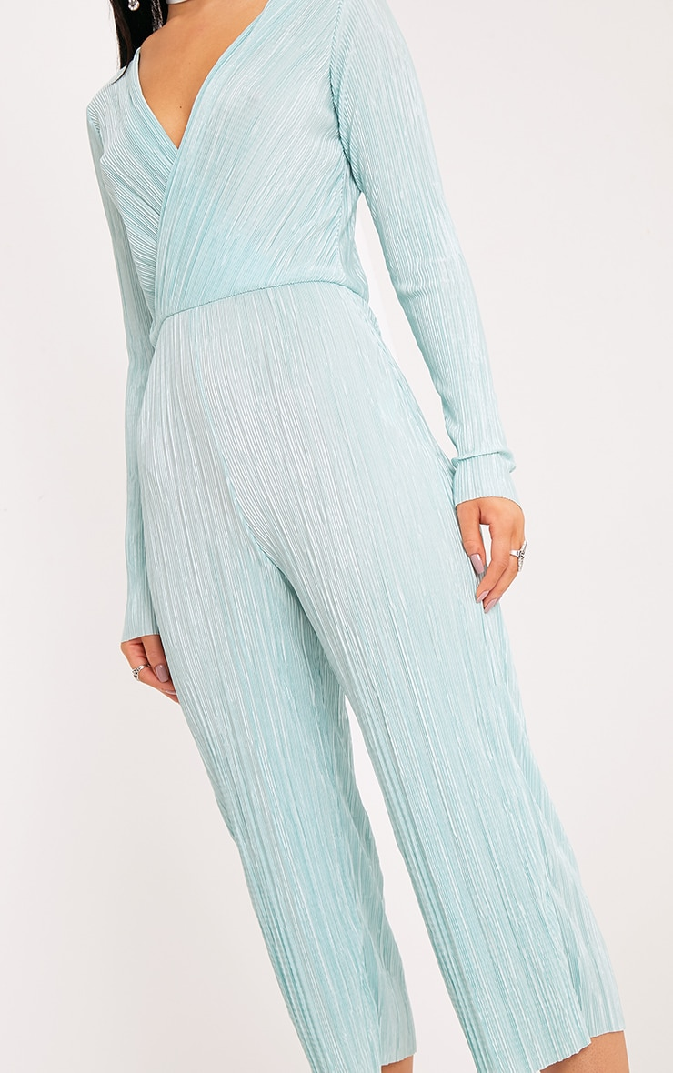 Liah Sage Green Pleated Long Sleeve Wrap Culotte Jumpsuit 4
