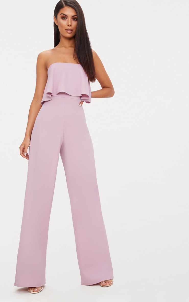 Mauve Bardot Double Layer Jumpsuit 1