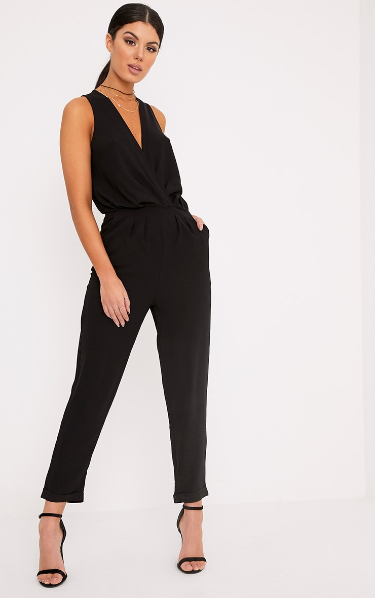 Tracey Black Wrap Front Jumpsuit 1