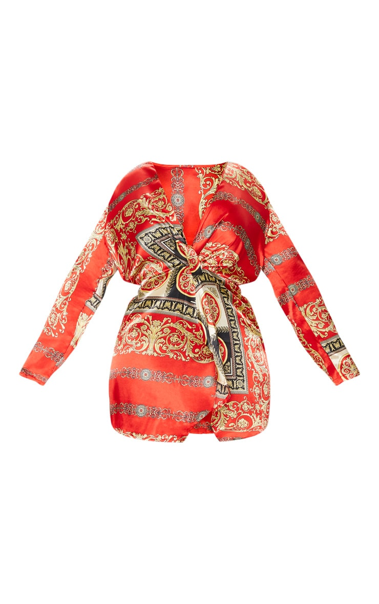 Plus  Red Printed Satin Long Sleeve Wrap Dress 3