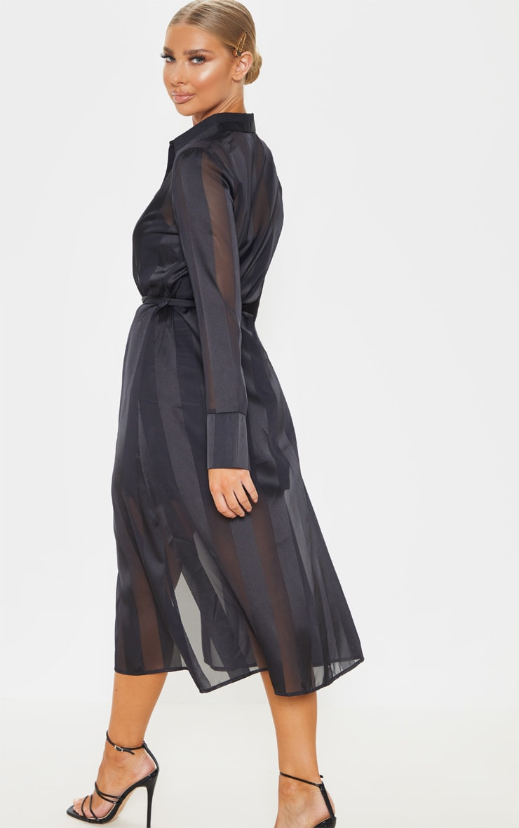 Black Satin Midi Shirt Dress 2
