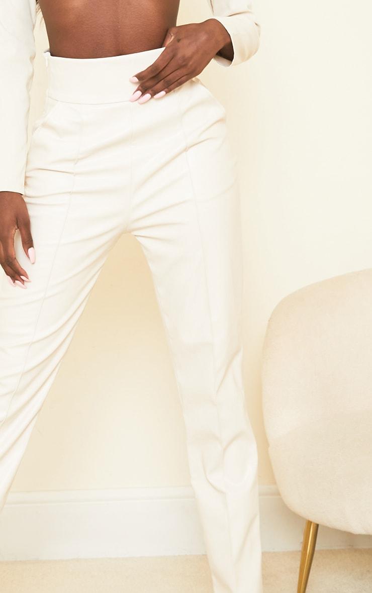 Tall Cream High Waisted Seam Detail PU Pants 4