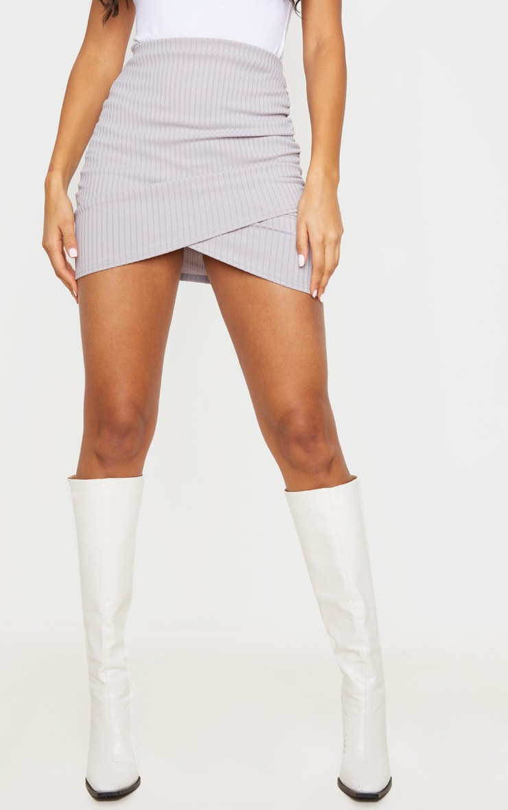 Grey Ribbed Ruched Wrap Mini Skirt 2