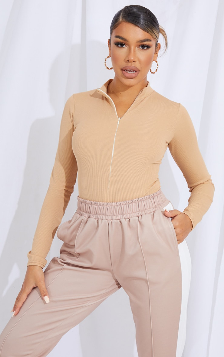 Camel Rib Zip Up Long Sleeve Bodysuit 1