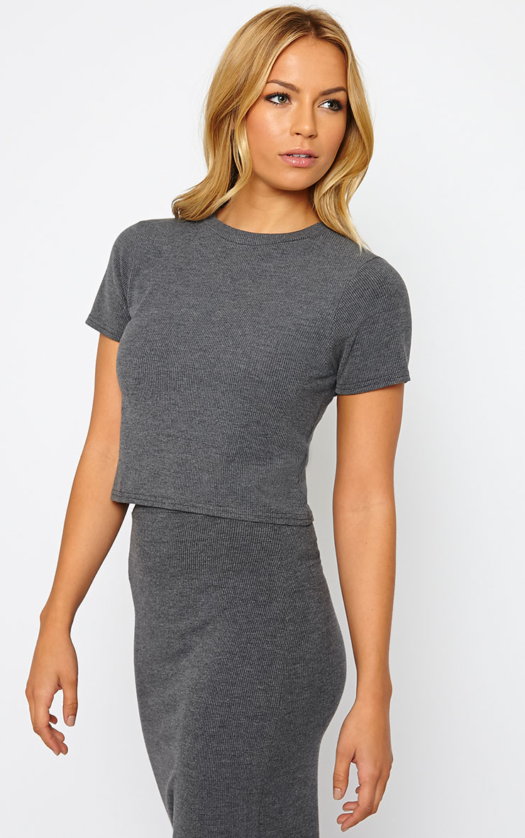 Basic Charcoal Short Sleeve Crop Top 4