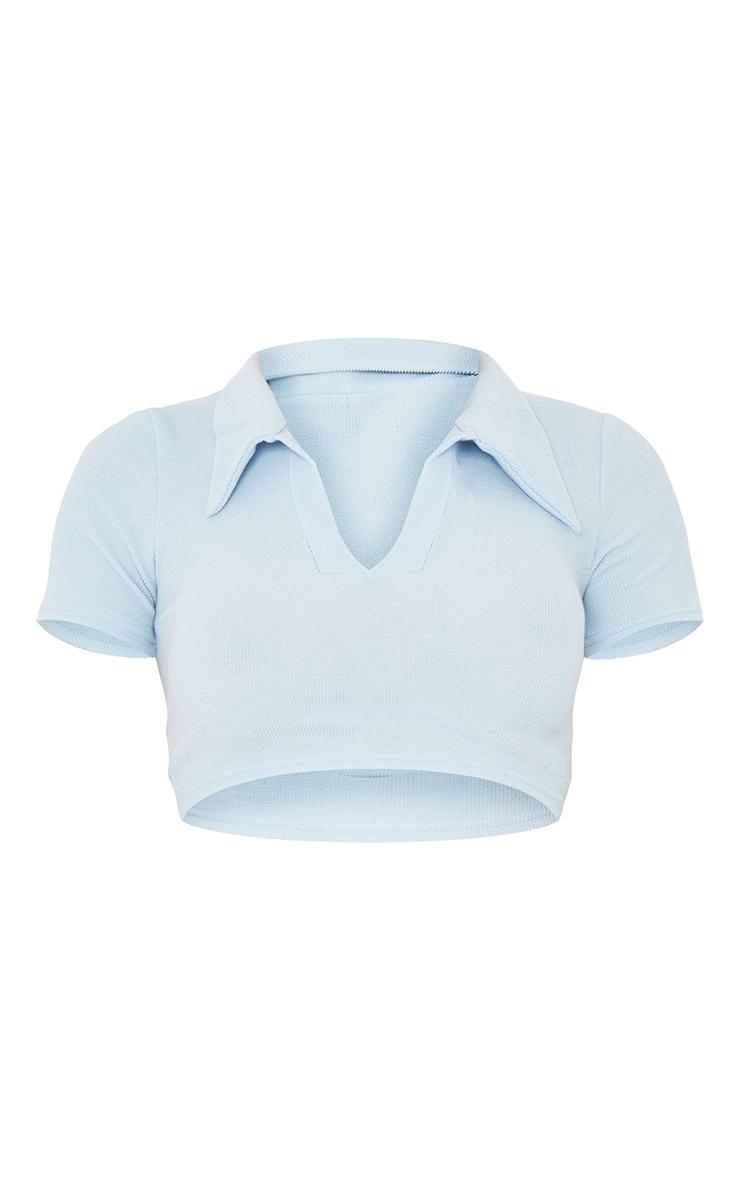 Baby Blue Crinkle Rib Collar Detail Short Sleeve Crop Top 5